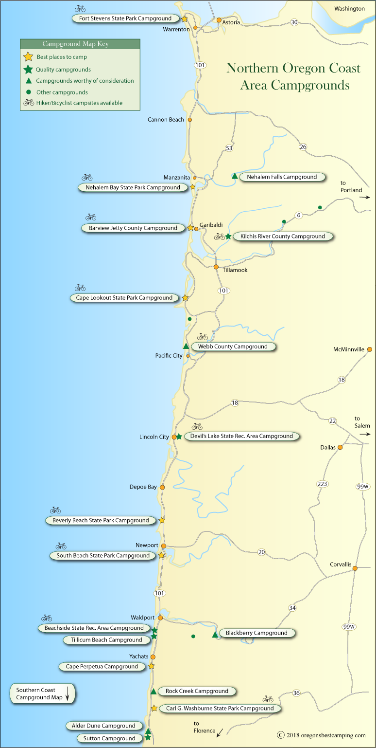 maps of oregon coast Oregon Coast Campground Map Northern Half maps of oregon coast