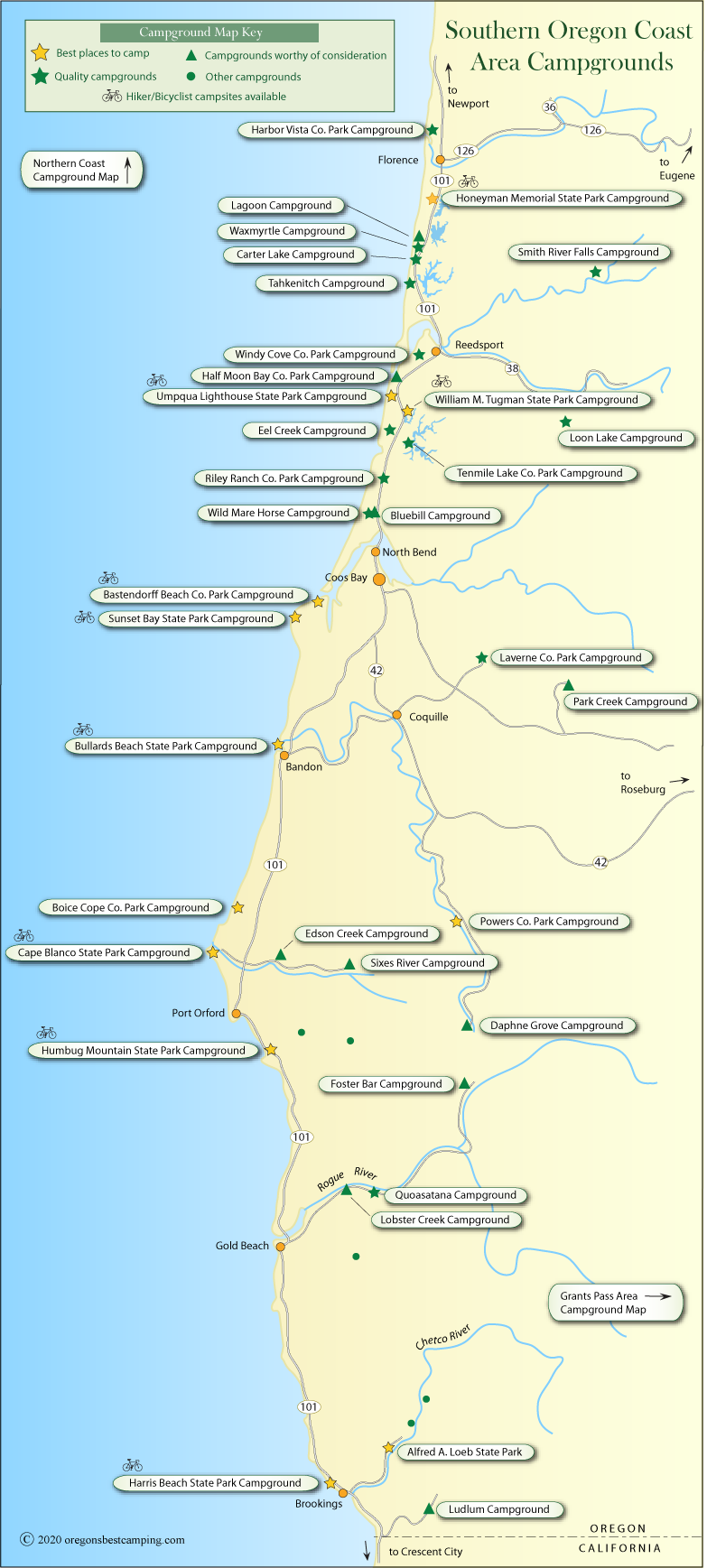 Oregon Coast Campground Map Southern Half